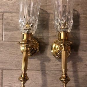 Vintage solid brass candle wall sconce w/crystal